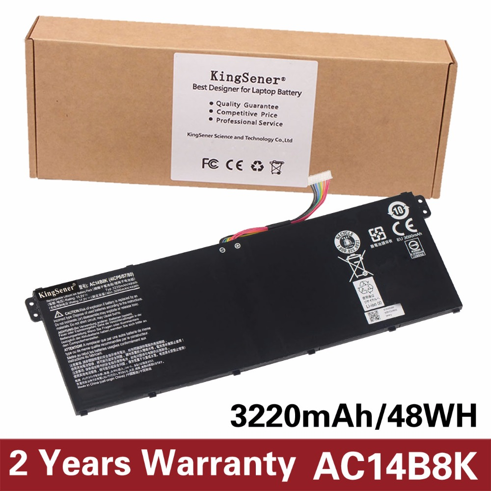 KingSener AC14B8K Battery For Acer Aspire E3-111 E3-112 CB3-111 CB5-311 ES1-511 ES1-512 E5-771G V3-111 V3-371 ES1-711 15.2V 48WH new laptop keyboard for acer aspire v3 431 v3 471 v3 471g v3 472 v3 472g v3 472p v3 472pg v3 372 gr german layout