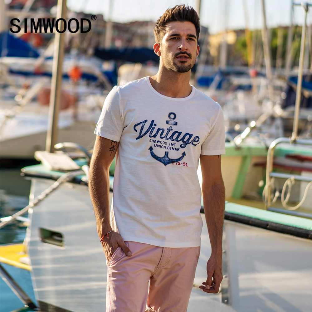 SIMWOOD 2018 Summer New T-Shirt Men Casual Slim Fit O-neck Fashion Letter Print Tops Plus Size Tees Brand Clothing 180103