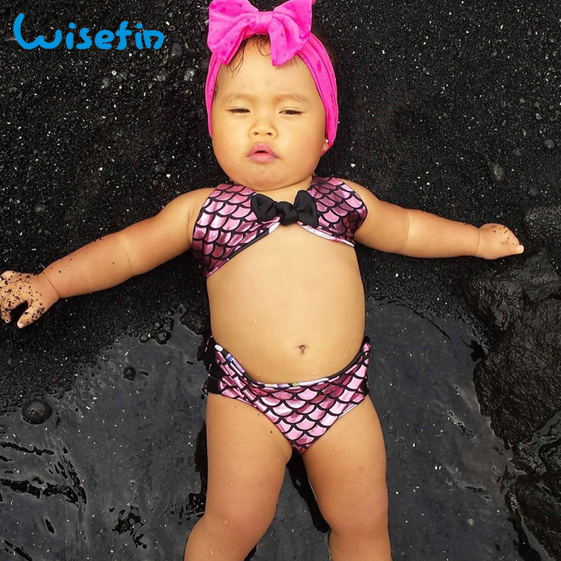 342509821844a Wisefin Mermaid Girls Bikini Summer Sleeveless Beach Style Girls Clothes  Bow Tie Kids Bikini Children Swimwear