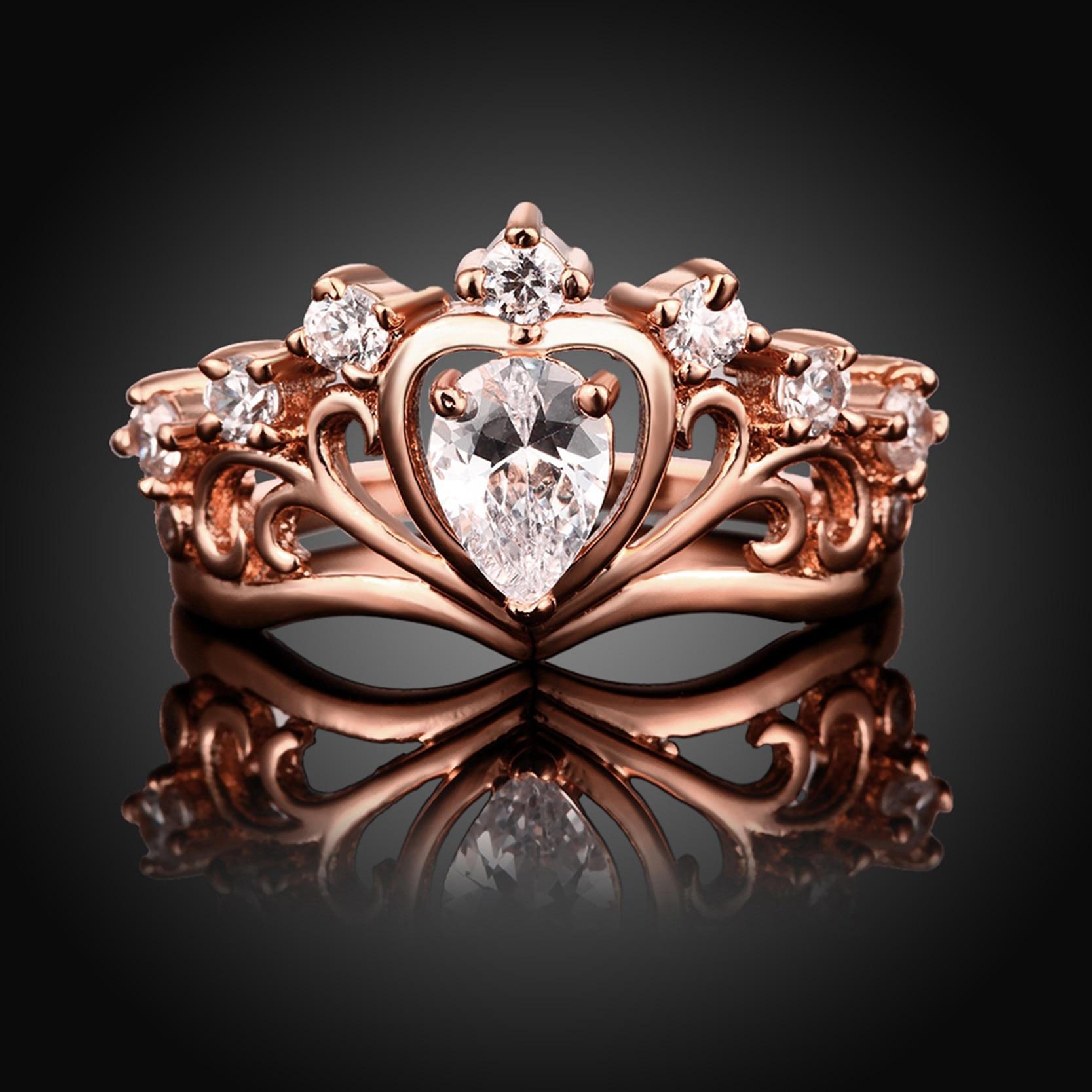 Online Shop Rose Gold Color Engagement Wedding Big Stone CZ Zircon ...