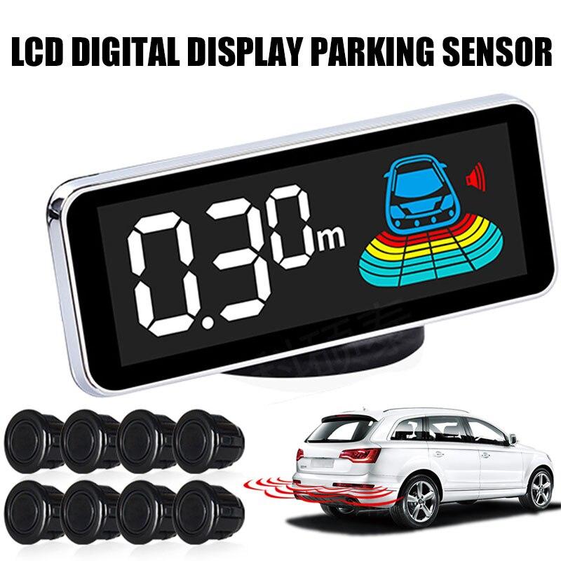 Vehemo 4 czujniki cofania LED czujnik parkowania samochodu bezpieczeństwa dla LCD wyświetlacz cyfrowy czarny cofania czujniki parkowania