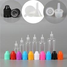 100 قطعة 3 مللي 50 مللي PET البلاستيك قطارة فارغة السائل العين زجاجة مياه شفافة طويلة تلميح غطاء + 20 قمع