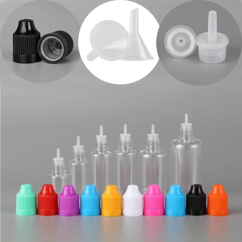 Пустая пластиковая капельница для домашних животных, 100 шт., 3 мл-50 мл, прозрачная бутылка для глаз с длинным наконечником + 20 воронки
