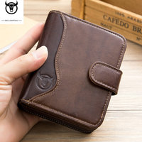 Blocking Men Wallets Vintage 100% Genuine Leather Wallet Male Handmade Custom Dollar Price Coin Purse Short Wallet carteira