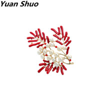 European American Fashion Accessories Wholesale Manufacturers Selling Red Enamel Pearl Tree Branch Flowers Ms Brooch