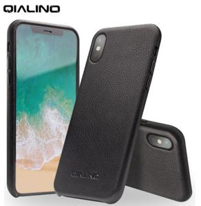 Image 1 - QIALINO Genuine Leather Phone Case for iPhone XS Handmade Luxury Fashion Ultra Thin Back Sleeve Cover for iPhoneXS for 5.8 inch