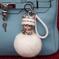 2016 new Monchichi keychain 8 cm Bonecas Monchichi de Cristal pele de coelho pom pom pompom senhora saco do anel Chave do carro pingente atacado