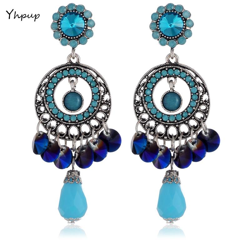 ▻Yhpup exquisito plata de la vendimia azul de lujo cristal ...