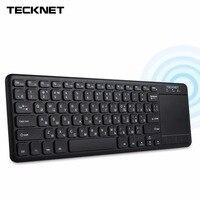 TeckNet אלחוטי Bluetooth מגע מקלדת רוסית עם משטח מגע עבור Windows OS Tablet מחשב הטלוויזיה החכמה אנדרואיד לא Bluetooth מקלט