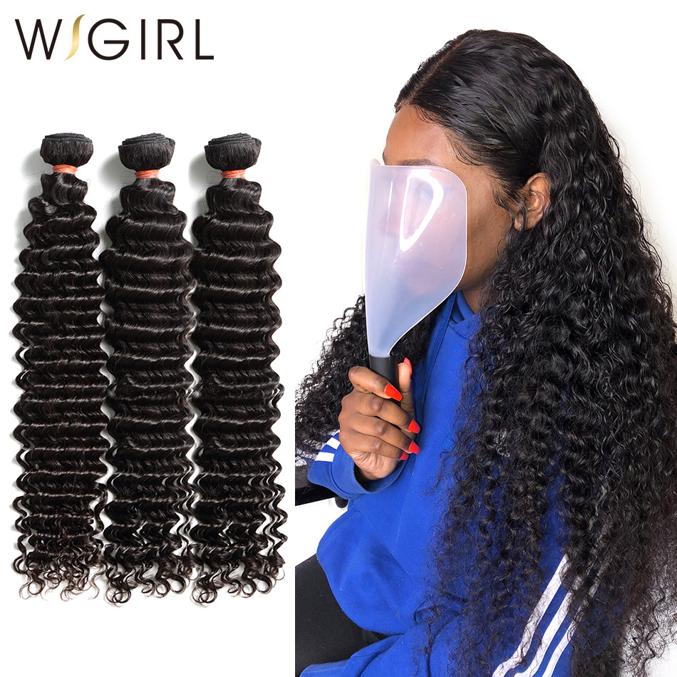 Wigirl Brazilian Hair Weave Bundles Deep Wave 100% Human Hair 28 30 Inch Curly Double Drawn Raw Virgin Hair Extension Vendors 3(China)