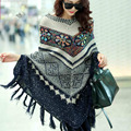 Free shipping New Fashion 2017 Autumn Winter Women Oversized Wool Pullovers Sweaters Bat Sleeve  shawl poncho