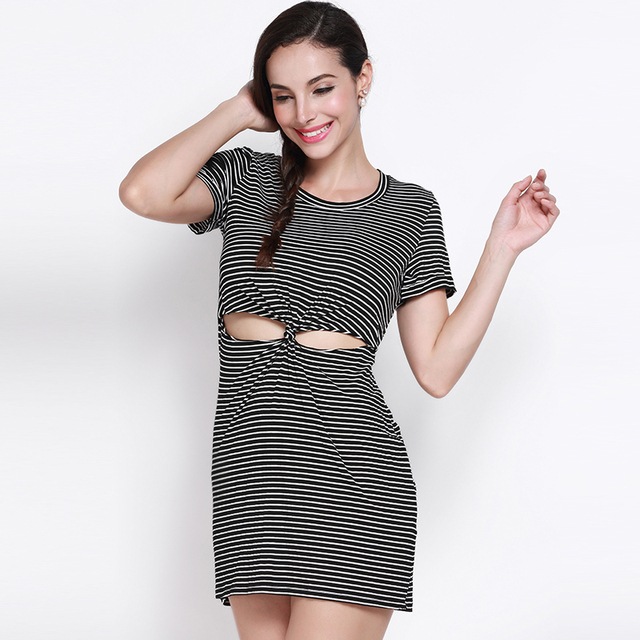 d2ccf54d8c473 US $25.47 |MY MAYAASOS Office Lady Fashion Women Slim Color Block Striped  Crew Neck Short Sleeve Cut Out Mini Dress Bodycon Mini Dress-in Dresses  from ...