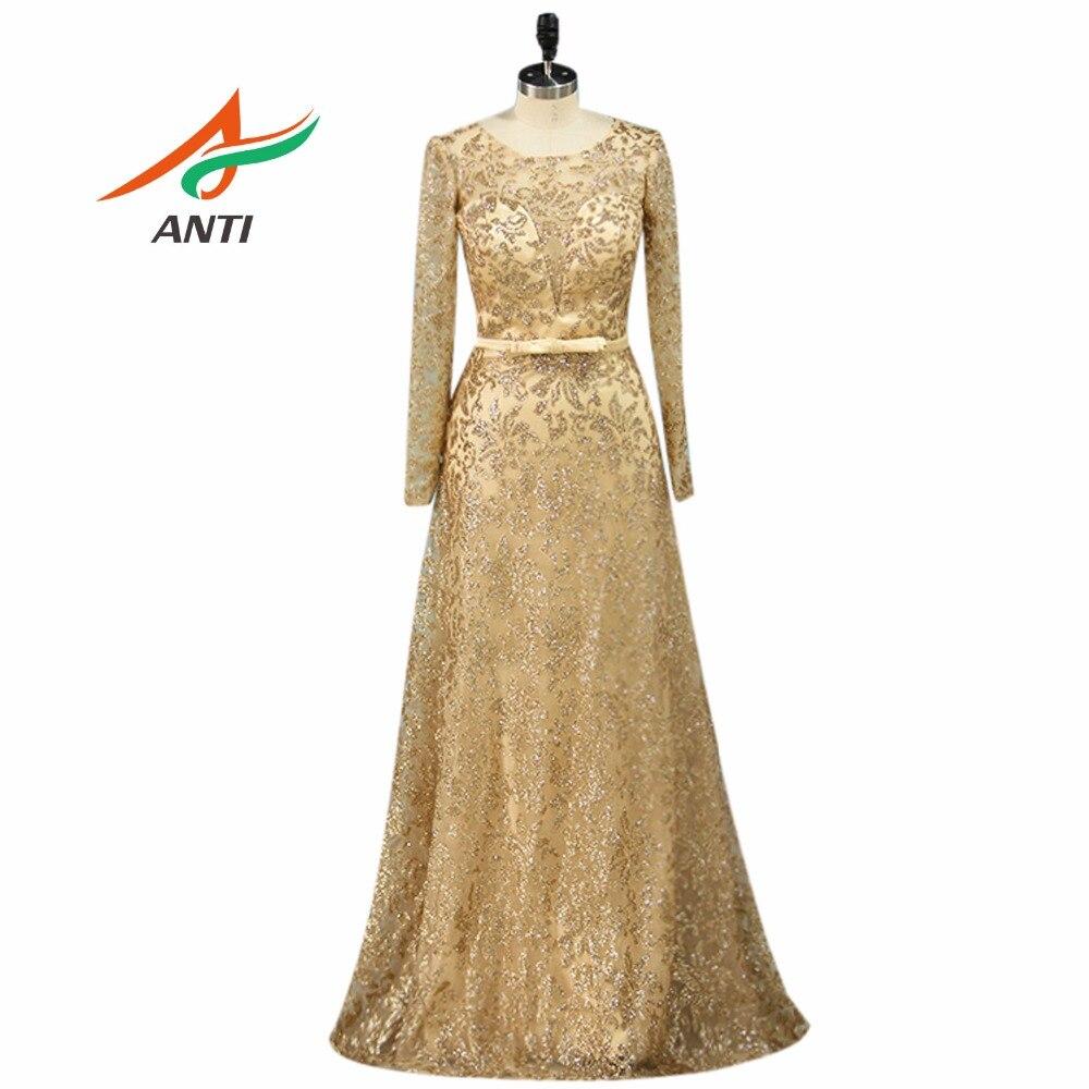 ANTI Elegant Long Sleeve Mother Of The Bride Dress Vestido De Madrinha Mutter Der Braut Party Women Sequined Lace Evening Gown