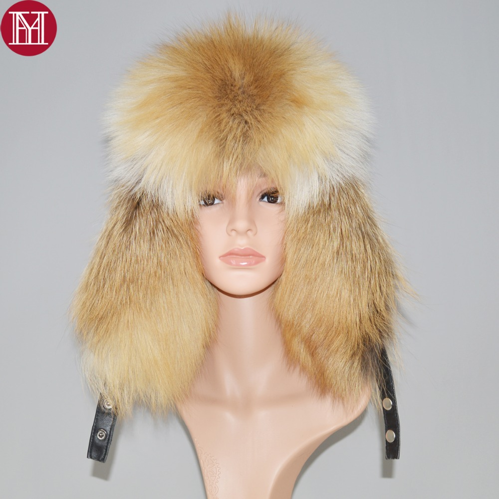 Hat Cap Raccoon-Fur Russian Bombers Winter Real Luxury Hot Unisex Warm Real-Sheepskin