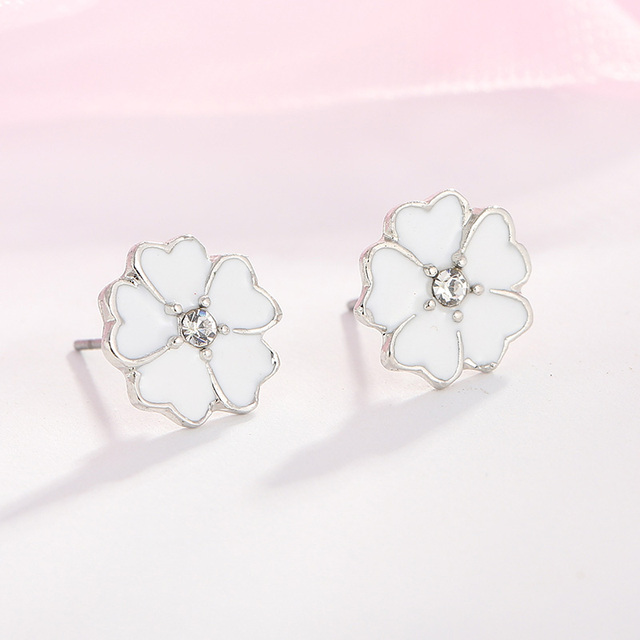 a8ed8441a2aca TOGORY Presents Silver Plated Crystal Mickey Shape Fine Stud Earrings  Sparkling Minnie Fashion Jewelry Special Store