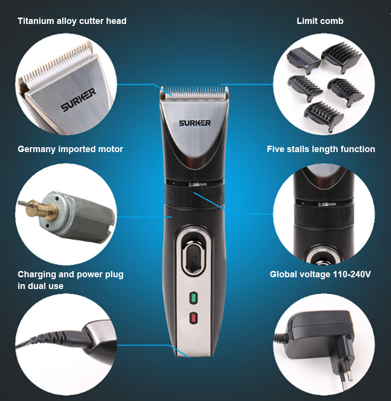 SURKER RFC-658A Professional Electric Hair Clipper Rechargeable Powerful Hair Trimmer Titanium Alloy Haircut Machine EU Plug surker model rfc 688b electric foil hair trimmer for men with clean