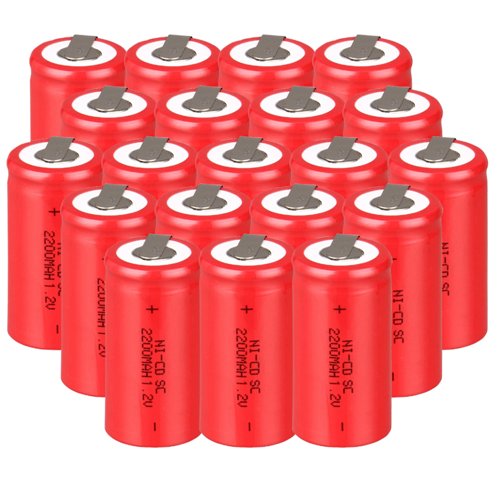 Lowest price 20 piece SC battery 1.2v batteries rechargeable 2200mAh nicd battery for power tools akkumulator