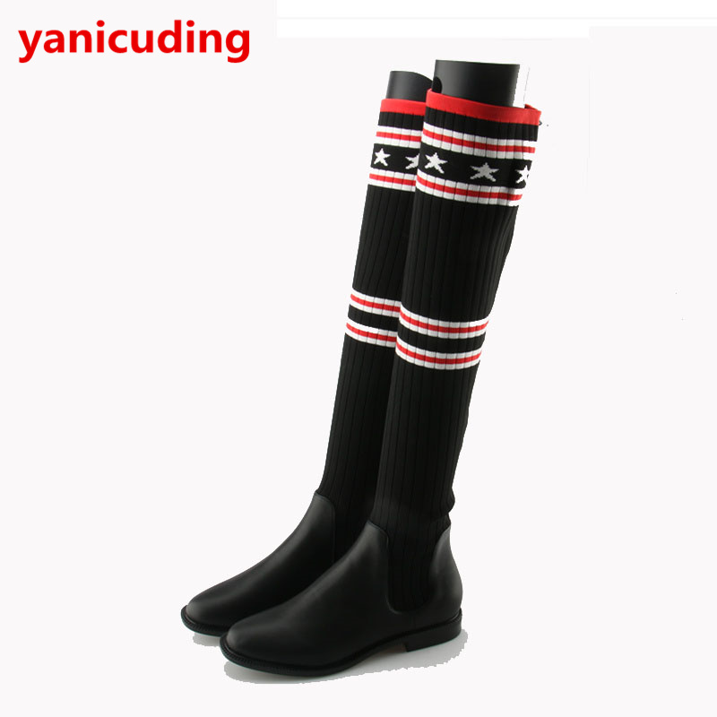 Women Long Booties Luxury Brand Stretch Fabric Super Star Runway Over Knee Boot Sock Boots Women Lady Shoes Boots Mixed Color black leather women short booties luxury brand metal buckle design sock boots super star runway shoes low heel chaussures femmes