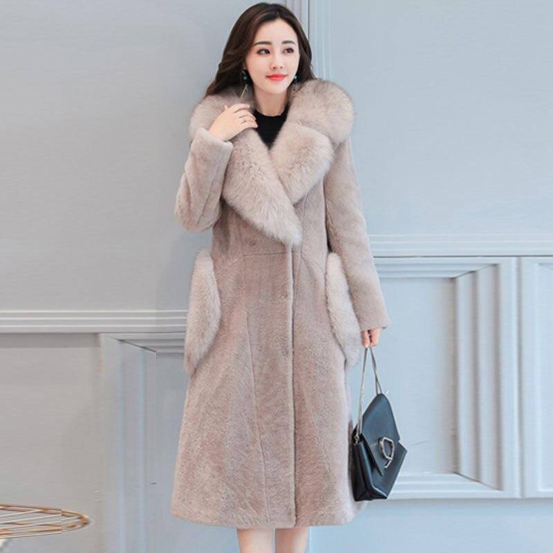 Mode Femmes pink Gray De Haute Fourrure 2017 Taille Ukrainex172 Grand Nouveau Black Manteau En Plus Chaud Long Femelle Qualité Revers Peluche khaki Col D'hiver dark Veste Parkas qatEWF