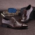 Estilo italiano de Los Hombres de Cuero Genuino Zapatos de La Boda Vestido, Cocodrilo de La Manera de Los Hombres Zapatos Planos de Cuero, Hombres de Negocios Zapatos De Cocodrilo