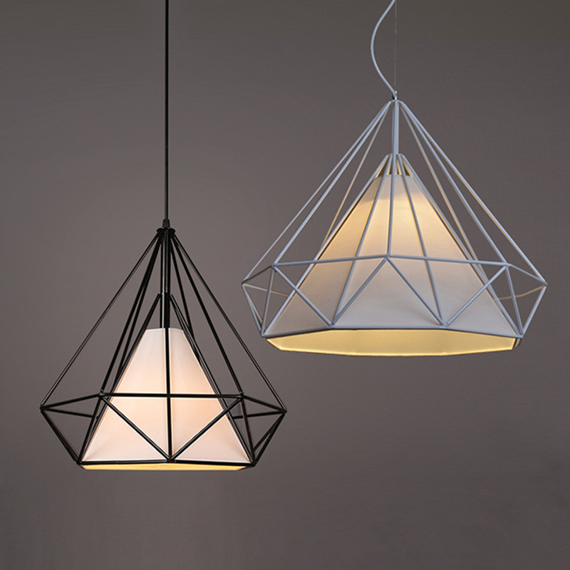 modern diamond pendant lights iron minimalist retro light Scandinavian loft pyramid lamp metal cage with led bulb suspension lam free with led bulb colorful birdcage pendant lights iron retro light oft pyramid lamp metal cage with vde best wire and holder