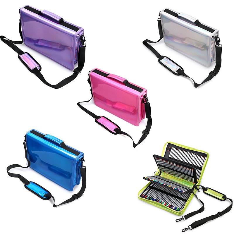 160 Holders large capacity Laser pencil case PU Sketch drawing pen Pencil bag  pencilcase Stationery Supplies Penalty 3008 large capacity simple 120 pu pencil bag case storage pouch drawing tools pencils stationery supplies