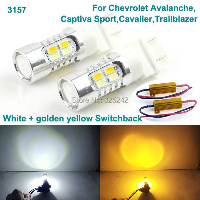 For Chevrolet Avalanche,Captiva Sport,Cavalier,Trailblazer Excellent 3157 Dual-Color Switchback LED DRL+Front turn Signal light