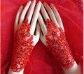 2016 Mais Recente Casamento Do Laço Vermelho Luvas Sem Dedos de Comprimento de Pulso de Cristal Acessórios De Noiva Mel Qiao