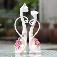 resin handmade creative animal figurines cat lovers marriage ornaments wedding gift to friends wife modern home decorations