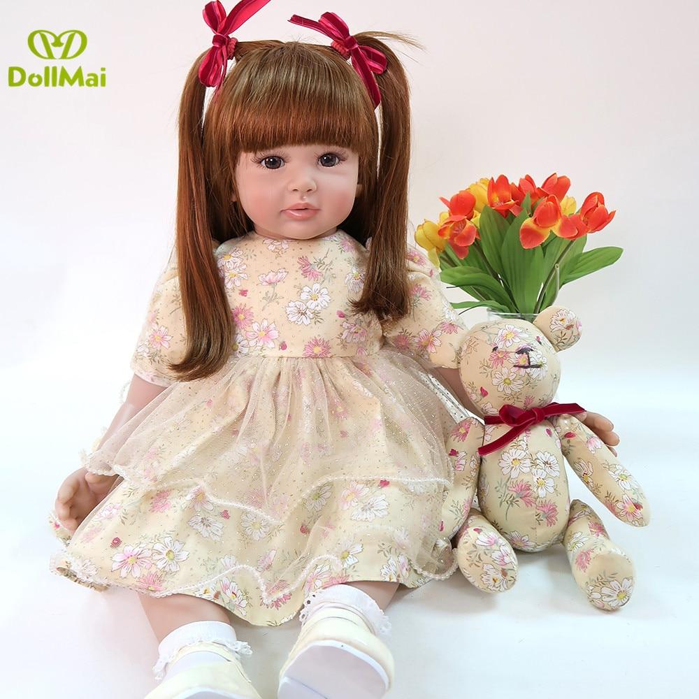 Bebe Boneca reborn toddler silicone vinyl reborn girl dolls large size 60cm exclusive model real baby