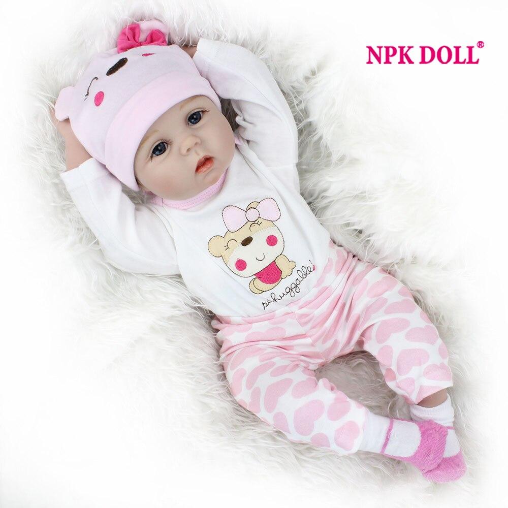 Npkdoll 22 дюймов Кукла Реборн 55 см реалистический Кукла реборн кукла для девочек плюшевая кукла Пожизненное возрождение reborn doll