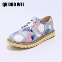 2018 Spring Women Sneakers Oxford Shoes Flats Shoes Women Leather Flower Print Lace Up Boat Shoes