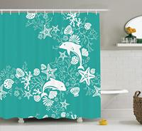 Dolphins Flowers Sea Life Floral Pattern Starfish Coral Seashell Wallpaper, Fabric Bathroom Decor Set with Hooks