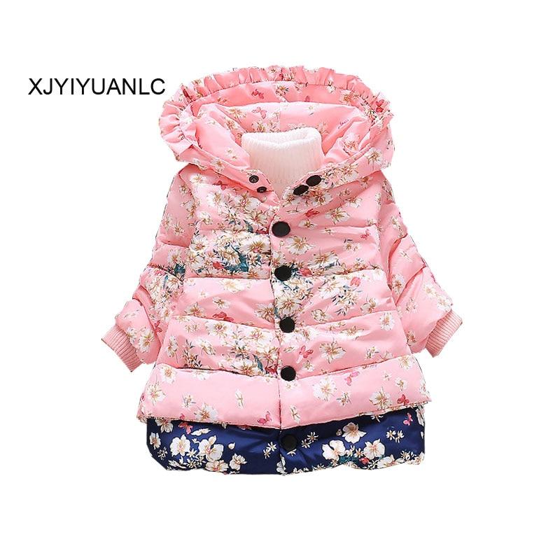 Nueva ropa exterior para niñas Ropa para niños Moda de niña impresa abrigo de algodón Chaqueta de invierno abrigada ropa para 1-4 años