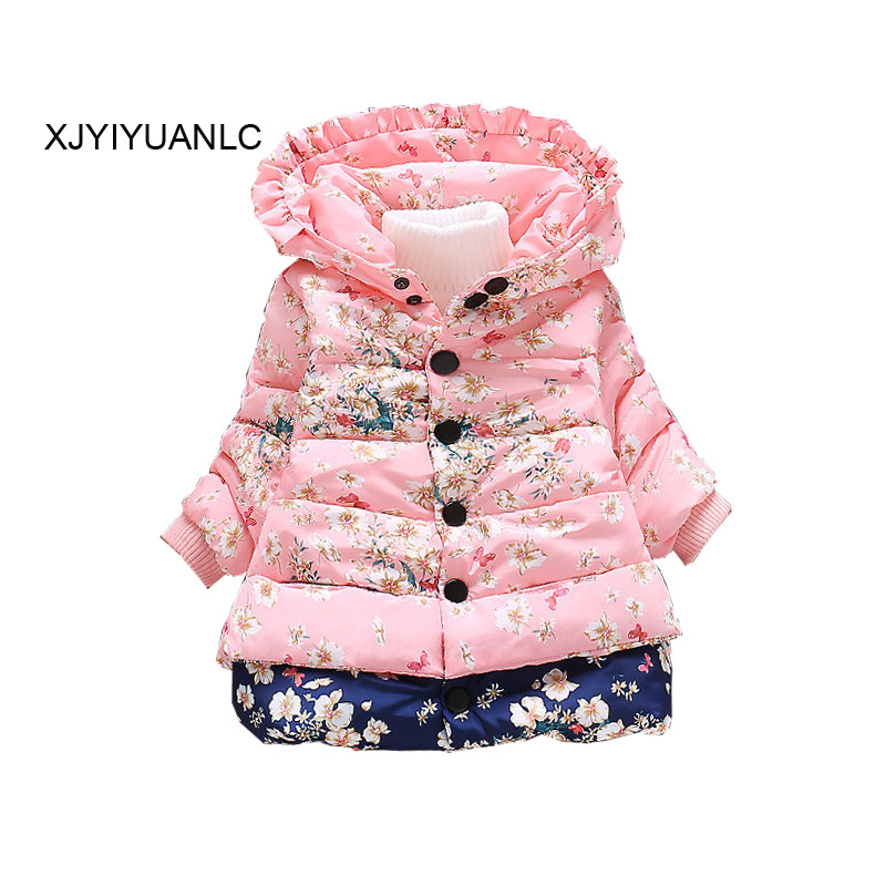 New Girls Outerwear 아동복 아기 소녀 패션 인쇄 된 코 튼 어린이 겨울 따뜻한 재킷 옷 1-4 년 동안