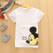 Г. летняя рубашка белая хлопковая футболка с короткими рукавами для маленьких мальчиков детские топы с рисунком мышки для маленьких мальчиков, футболки От 1 до 8 лет
