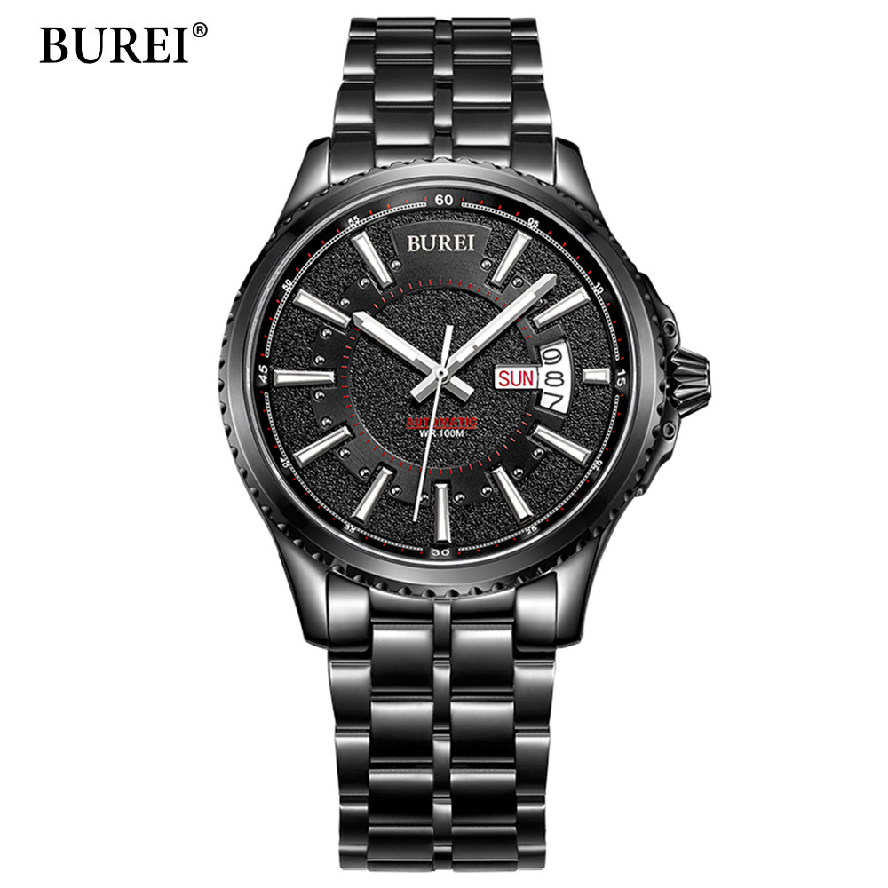 цены BUREI Fashion Sport Mens Watches Top Brand Luxury Military Stainless Steel Strap Quartz Watch Black Matte Dial Relogio Masculino