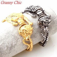 Granny Chic Punk Gothic Men's 21CM Chain Bracelet Casting 316L Titanium Stainless Steel Tiger Silver Gold Bracelets Men Jewelry