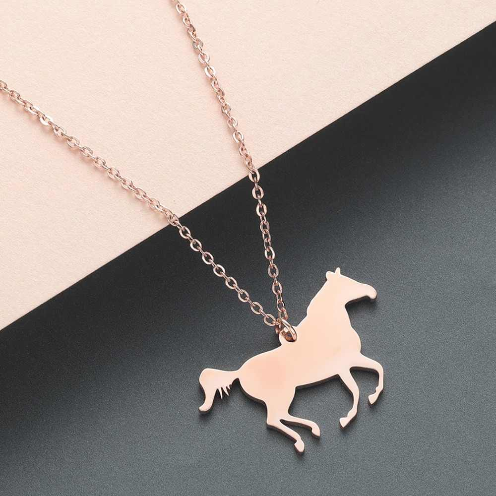Todorova Personalized Horse Lover Gift Horse Jewelry Racing Horse Pendant Necklace Stainless Steel Mecklace Women Drop Shipping