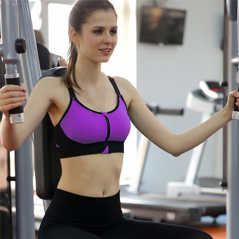 8a515a0865 Women underwear push up front zipper sports bras big size bra yoga padded  fitness tank tops cycling workout sport bra