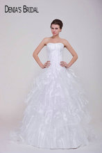 Real Pictures Sweetheart Sleeveless A-Line Wedding Dresses Ruffles Floor-Length Sweep Train Bridal Gowns