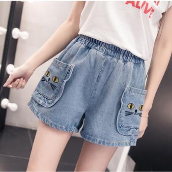 S-5XL Summer large size womens cat cartoon embroidery hot feminino short jeans high waist denim shorts for women
