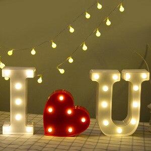 Image 3 - 26 رسائل بيضاء LED ضوء الليل سرادق تسجيل الأبجدية مصباح لعيد ميلاد السنة الجديدة عيد الحب الديكور