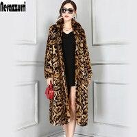 Нерадзурри Высокое качество модные европейские X-длиной искусственного меха леопарда пальто Для женщин с длинным рукавом Женская зимняя об...