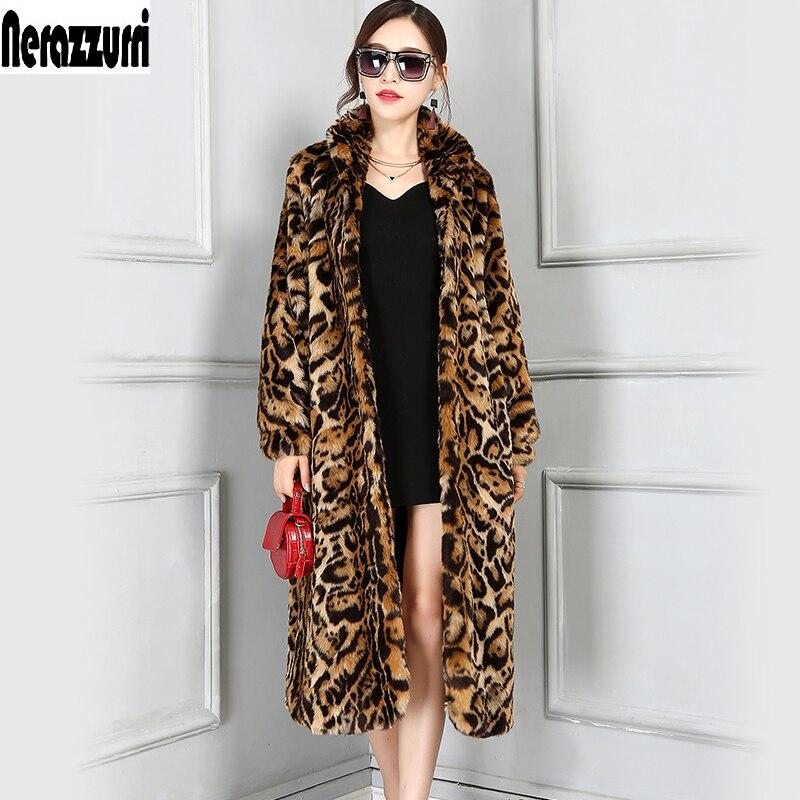 Nerazzurri High Quality Europe Fashion X-Long Faux Fur Leopard Coat Women Long Sleeve Female Winter Overcoat Plus Size 5XL 6XL