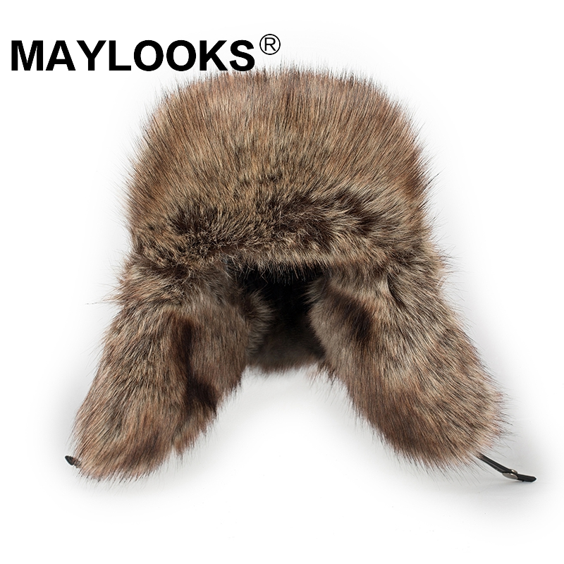 Maylooks Faux leather mens Bomber hats with ear flap Russian winter Faux fur Earmuffs caps brown color CS117