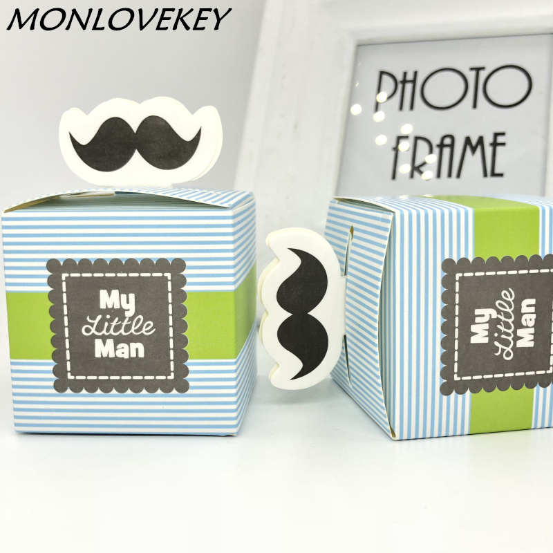 30pcs My Little Man Cute Mustache Gift Box Baby Boy Birthday Decoration Baby Shower Candy Box Baptism Christening Party Favors Festive & Party Supplies