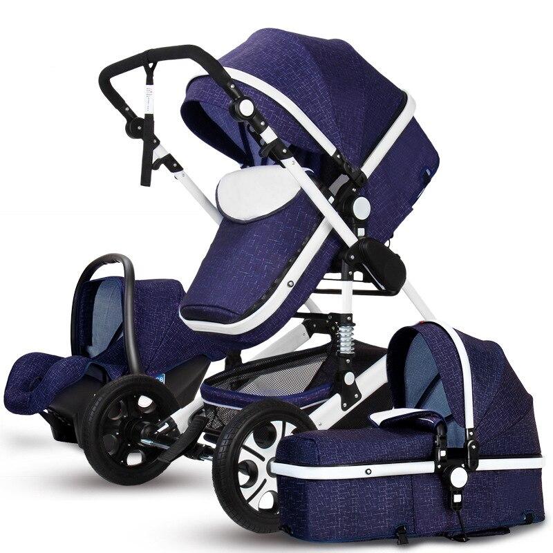 где купить 3 In 1 Baby Stroller Sports Pushchair Super-light aluminium Four Wheel Baby Carriage Car Seat Cart Baby Stroller дешево