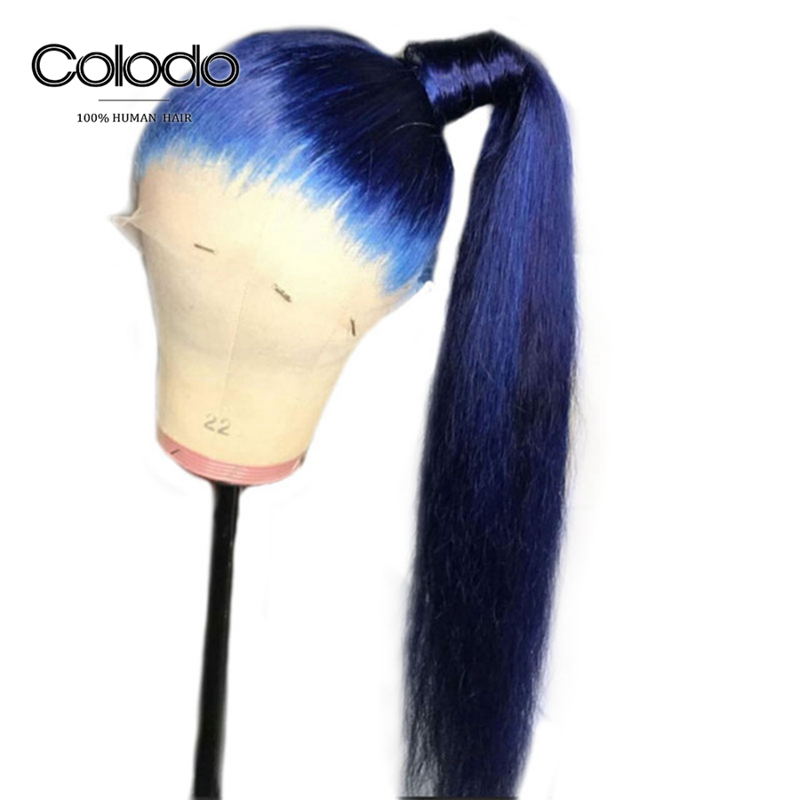 Colodo Blue Human Hair Wigs With Babyhair Preplucked Brazilian Straight Remy Hair Lace Front Wig 150% Density For Black Women To Win A High Admiration