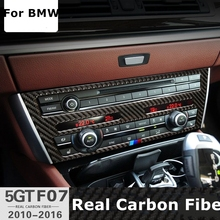 Para BMW Serie 5 GT F07 Real Carbon Fiber Car CD Etiqueta M raya Emblema Pegatinas Marco Del Panel de Control para BMW 535i 2010-2016